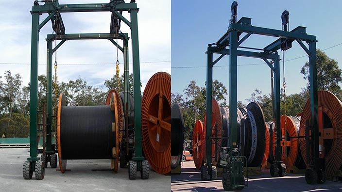 Isoloader mini straddle carriers handle and transport cable drums weighing over 40 tonnes.