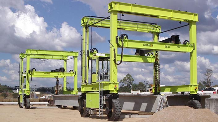 Isoloader Straddle Carriers and Rubber Tyred Gantries (RTGs) customized to handle heavy and industrial loads up to 100 tonnes.