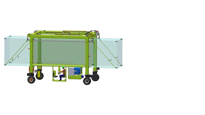 Isoloader EZLift Mini Straddle Carrier with configurable cab position for optimal visibility and safety