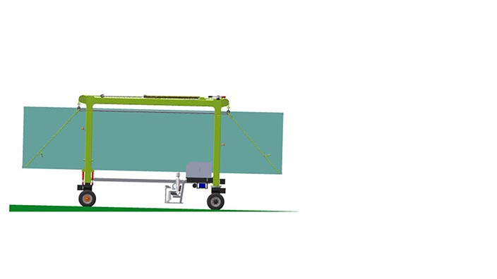 Isoloader EZLift Mini Straddle Carrier can handle steep grades to 10%