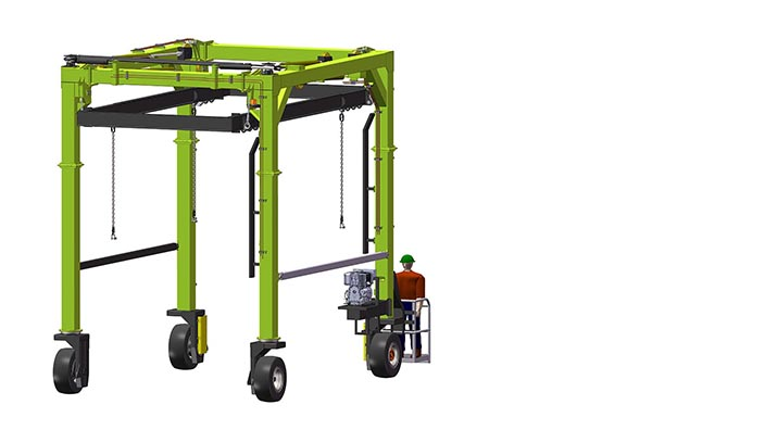 Isoloader EZLift Mini Straddle Carrier can be configured for custom applications