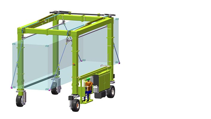 Isoloader EZLift Mini Straddle Carrier configured for special load handling such as tipping and rotation