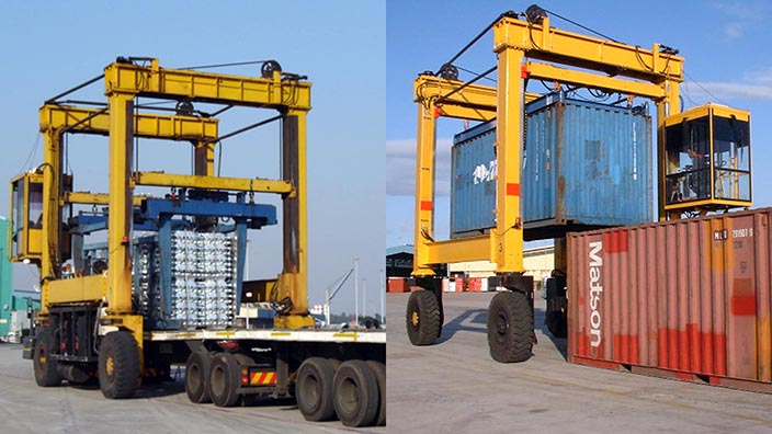 Isoloader Ingot Straddle Carriers handle both containers and ingot bundles.