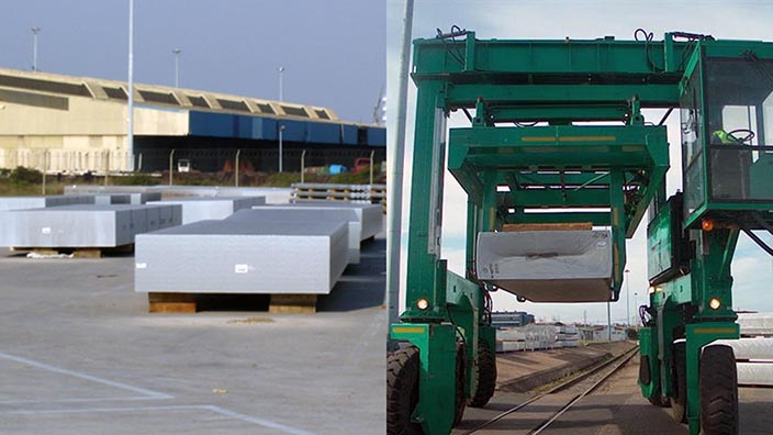 Isoloader Ingot Straddle Carriers handle aluminium slabs and 30 tonnes of ingot bundles in a single load.