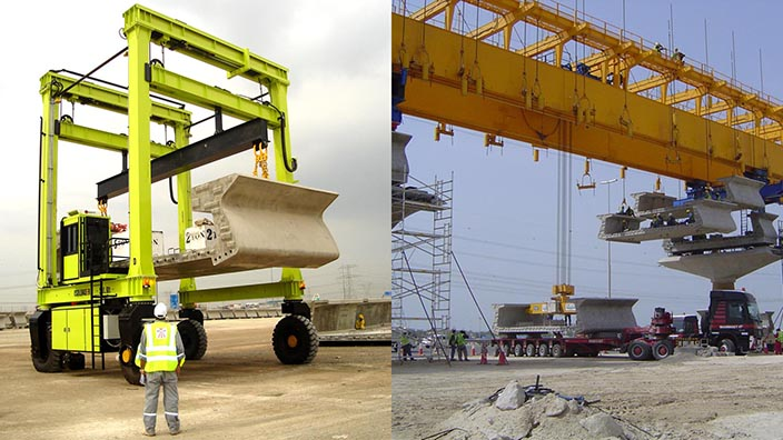 Isoloader Straddle Carriers and Rubber Tyred Gantries (RTGs) customized to handle pre-cast concrete segments up to 100 tonnes.