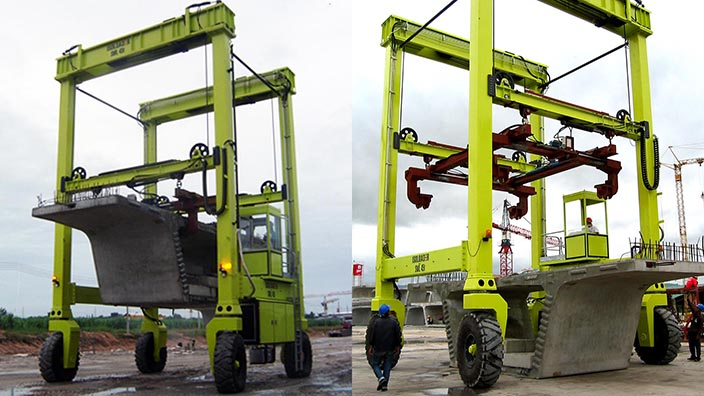 Isoloader Straddle Carriers and Rubber Tyred Gantries (RTGs) transport and handle pre-cast concrete beams for road and rail projects.