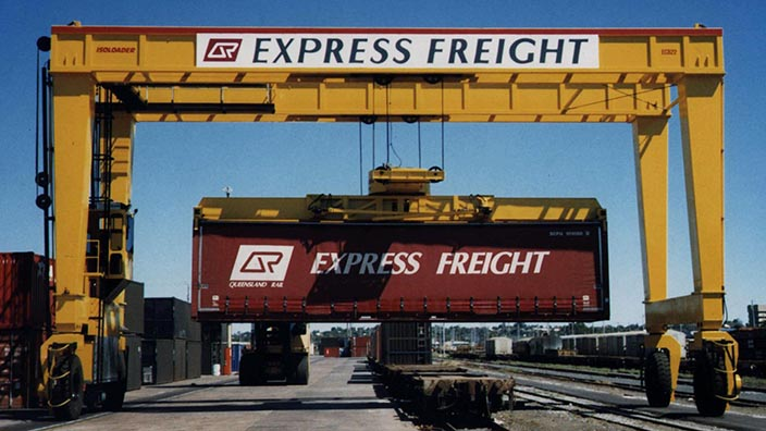 Isoloader Rubber Tired Gantries (RTG) can rotate container during handling in small and mid-sized intermodal container terminals.
