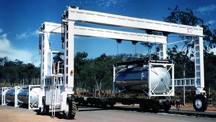 Isoloader Mini Rubber Tired Gantries (RTG) are cost effective for terminals as small as 5000 containers per year.