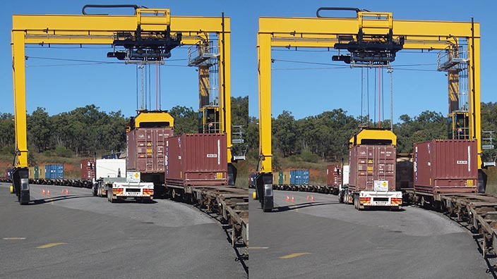 Isoloader Rubber Tired Gantries (RTG) for train stripping operations at mid-sized container terminals.