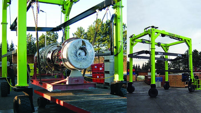 Isoloader Mini Straddle Carriers such as the EZLift configured to handle and pack 10t turbines.