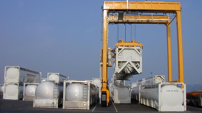 Isoloader Rubber Tired Gantries (RTG) for high density storage and handling of tanks and containers at tank farms.