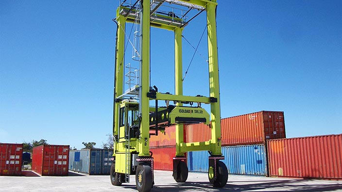 Isoloader Transporter High Performance Straddle Carrier handling containerized chemicals